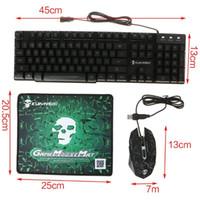 Kit d'équipement de jeu dirigé par Rainbow Kit de clavier léger Mouse Pad de souris USB Charge