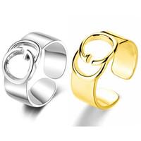 Nova Chegada Mulheres Carta Anel Open Gold Silver Letter Ring para Presente Partido Moda Jóias Acessórios Atacado Preço