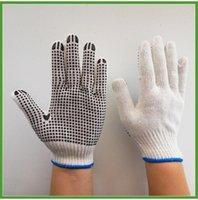 خمسة أصابع قفازات النقطة البلاستيكية المبيضة عشرة إبر عدم الانزلاق حماية العمالة مقاومة للاهتراء الاستغناء A86