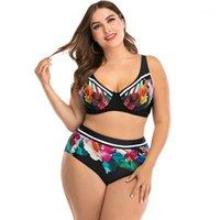 Sexy bikinis 2020 más tamaño Dos piezas traje de baño mujer traje de baño floral impresión floral bikini conjunto de gran tamaño playa traje de playa verano baño de verano1