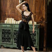Vestido de baile latino rosa impreso mono negro faldas largas cha cha rumba samba desgaste mujeres salón de baile vestidos de flamengo DNV12280