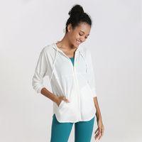 Escudo partido de la yoga de la aptitud Yoga suelta chaqueta con capucha de las mujeres de gimnasio ropa cremallera chaqueta de manga larga Top deportivo para mujeres de las polainas