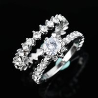 Paired Classic Wedding Bridal Ring Engagement Shiny Brillian...
