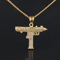 Hip Hop Gun Pendant Necklace 18K Gold Silver Plated Iced Out Cz Diamonds Charm Pendant Fine Quality Cuban Chain