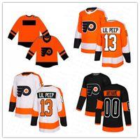 Philadelphia Panfletos # 13 Lil Peep Fashion Star Hockey Jersey Laranja Negro Branco Homens Mulheres Juventude Barato