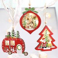 Christmas Glitter creux Pendentifs en bois Creative voiture Arbre de Noël Ornements Pentagram avec lumière LED pour Home Décoration T1I2630