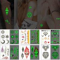 Световые временные татуировки Totem стикер волк череп луны облако пламя дизайн браслет для классных женщин человека тела искусства