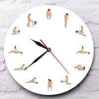 Reloj de pared de la novedad atractiva erótica moderna 12 Sex Posiciones decorativo de la pared del reloj de pared de Kama Sutra adulto Arte del reloj de reloj