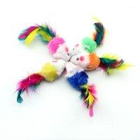 Кошка игрушки 10 шт. Играть не токсичные домашние животные, мягкие для дома Забавный сад Искусственный флис Прочная ложная мышь Toy1