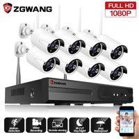 ZGWANG cámara WIFI 2MP 8 canales IP a prueba de agua al aire libre de interior 1080P Sistema Inalámbrico Inicio Oficina de Registro de seguridad CCTV Kit de Vigilancia