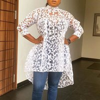 Clocolor Seksi Sheer Üst Afrika Moda Beyaz Dantel Artı Boyutu Bluz Kadınlar Yaz Güz Ofis Bayan İş Giyim 3XL Uzun Gömlek 201201