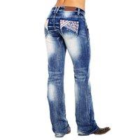 Laamei mujeres bordadas pantalones vaqueros del bolsillo de impresión Calzoncillos dril de algodón delgado pantalones rectos largos ocasionales de los pantalones vaqueros Pantalon Femme A1112