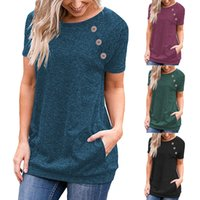 Womens Summer Button T Shirt Pocket Loose Panelled Short Sle...