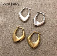 Meninas 925 Brincos irregulares de prata esterlina para mulheres estilo nórdico minimalista Big Hoop brincos feminino festa jóias1
