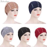 Beanie / Kafatası Caps Bayanlar Türban Bonnet Toprağın Renk Boncuk İç Hijut Afrika Büküm Headwrap Kadın Kafa Sarar Hindistan Şapka Hicaps Cap1