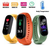 M5 Pro temperatura do corpo pulseiras inteligentes M5 Stock Fitness Tracker Bracelete inteligente Reloj Pulsera Inteligente SmartWatch M5 Pro Relógios