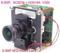 "8.0MP 8MP 4K H.265 IPC وحدة 1 / 2.7 ""SmartSens SC8238 CMOS الاستشعار + Hi3516A V200 CCTV IP كاميرا PCB مجلس + لان كابل + M12 عدسة"