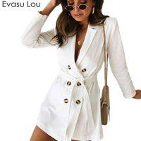 Evasu lou 2018 nuevo primavera otoño mujeres blancas doble botonada manga larga cintura corbata abrigo femenino casual abrigos delgados EV0331