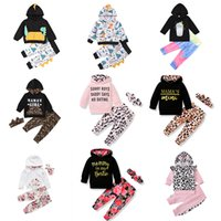 kids clothes girls outfits infant Hooded dinosaur Floral letter Tops+Leopard pants set 2021 Spring Autumn Boutique baby Clothing Sets Z1943