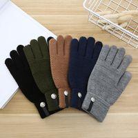 Творческий мужские перчатки чистые цвета Полосатый дизайн кнопки Декор Полуперчатки Winter Proofwind Stay Warm Анти Холодное Adult Пять пальцев перчатки 7 16jt L2