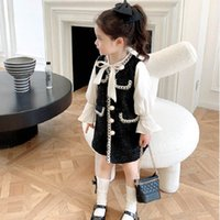 Fashion girls dresses pearl long sleeve kids princess clothe...