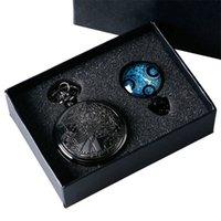 Yisuya vintage preto médico que tempo senhor selo quartzo relógio de bolso conjunto com Dr. Quem colar caixa de cadeia FOB para mulheres presentes t200502