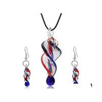 Murano Glas Angehörige Halskette Tropfen Ohrringe Modeschmuck Set Für Frauen Party Geburtstagsgeschenk Kostüm Dekor Ethnische Art Eejsh