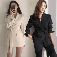 S-2XL Новая мода женщин костюм жилет Длинный стиль Тонкий элегантный офис Большой размер Женщины Топы черные белые куртки AIYANGA