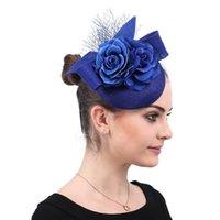 Acessórios de cabelo senhoras Royal Floral com penas Headwear Fascinators Chapéus de casamento encantador Imitação Sinamay Clipes Evento da Igreja