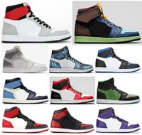 Melhor Qualidade 1 Royal Toe Luz Cinza fumaça Tokyo Toe Bred Banido tênis de basquete Homens 1s Obsidian cetim Cobra Fúria Verde Sneakers Com Box
