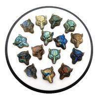 Природная лабрадор голова волки ручного резного камня животное DIY кулон ювелирных аксессуары кристалл агат целебной энергия полудрагоценный камень jewelr