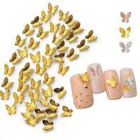 3D Metal Butterfly Nail Métal Décorations Mode Salon Art Art Design Holographique Papillons Accessoires Décoration pour Nails 300PCS / Set