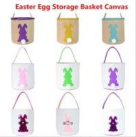 2021 Huevo de Pascua Almacenamiento Canasta Conejito Bunny Ear Bucket Creativo Pascua Regalo Bolso con decoración de cola de conejo 8 estilos