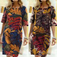여성 여름 Sundress 2020 잔존 보헤미안 인쇄 셔츠 드레스 캐주얼 짧은 소매 무릎 길이 Vestidos 여성 버튼 Robe1