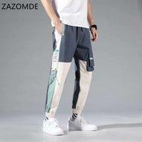 ZAZOMDE múltiples bolsillos cargo del basculador de los pantalones de los hombres de Hip Hop manera ocasional pista Pantalones Streetwear Harajuku nuevos hombres pantalón 201110