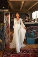 Lorie böhmische brautkleider puff sleeve spitze v ausschnitt brautkleid 2020 backless vestido de novia hochzeit speisekleid benutzerdefiniert