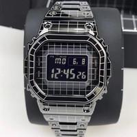 사각 남자의 시계를 판매하는 핫 LED GMW-B5000 시계 메쉬 스틸 벨트 방수 및 충격 방지 밖으로 아이스
