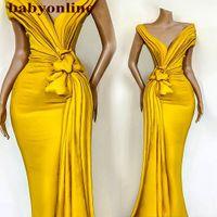 Impresionantes vestidos de noche amarillos pliegues a nudo sirena fuera del hombro fiesta formal fiesta de celebridades para mujeres ocasión desgaste barato