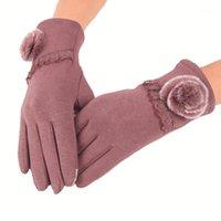 خمسة أصابع قفازات ljcuiyao الشتاء المعصم السيدات الكشمير لشاشة لمسة أنثى الصوف القفازات الحلو الأنيق المرأة 1