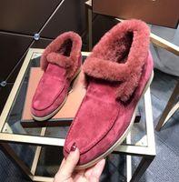 Süet Deri Kadın Loro Yürüyüş Elbise Ayakkabı Sneakers Kürk Içinde Tasarımcı Flats Kış Yüksek Üst Ayakkabı Artı Boyutu 41 42