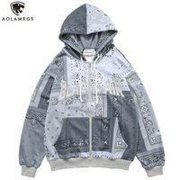 Aolamegs Men Zipper Hoodies Vintage Totems Letter Embroidery...