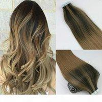 100 damga 40 adet insan saç uzantıları Balayage ombre renk kahverengi brezilyalı bakire saç sorunsuz pu cilt atkı 100g