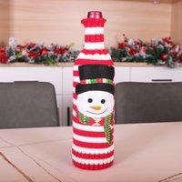 عيد الميلاد الحياكة زجاجة غطاء سانتا ثلج الأيائل الشمبانيا زجاجة النبيذ غطاء مرح عيد الميلاد محبوك زجاجة سترة ديكور GGB2728