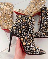 Nuevos zapatos inferiores marcas rojas elegantes para las mujeres tan lleno Kate del brillo atractivo de los cargadores del tobillo Tacones punta estrecha señora botines de vestir botín del partido