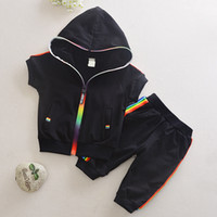 Yeni Erkek Kıyafetler 6 M-4 T Kız Giysileri Çocuk Giyim Suits Fermuar Üst Pamuk Pantolon Suits 2 adet Giyim Setleri Çocuk Giysileri