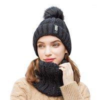 Şapkalar, Atkılar Eldiven Setleri Moda Kış kadın Şapka Eşarp Set ve Kadınlar Için Kız Sıcak Beanies Yüzük Ponpon Hats1