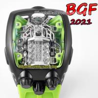 BGF 2021 أحدث المنتجات Super Running 16 اسطوانة المحرك الهاتفي EPIC X Chrono Cal.V16 التلقائي رجالي ووتش PVD سوداء حالة الأبدية