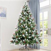 EEUU Stock nieve flocado árbol de Navidad artificial con bisagras 7,5 pies del árbol de pino con White realista Consejos Unlit W49819948