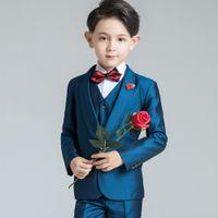 Royal BlueLittle Boy Formal Suits Dinner Tuxedos for Wedding Party Boy Groomsmen Kids Children Prom Suit Formal Wear (Jacket+Pants+Vest)
