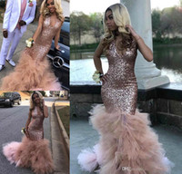 Real Image African Sequined Prom Dress Rose Gold Bling Forma...